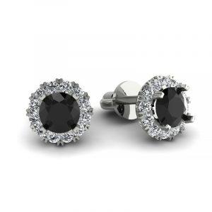 Urok piękna - Kolczyki z białego złota z czarnymi diamentami i brylantami