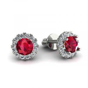 Urok piękna - Kolczyki Diamond Sky, białe złoto, rubiny, diamenty