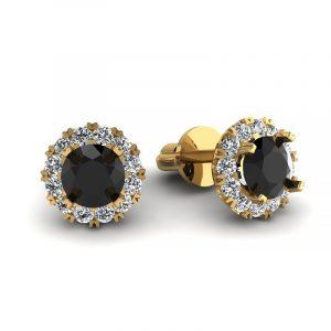 Urok piękna - Kolczyki z żółtego złota z czarnymi brylantami i diamentami