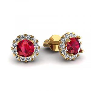 Urok piękna - Kolczyki z żółtego złota z rubinami i diamentami