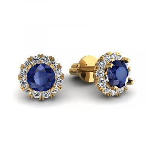 Urok piękna - Kolczyki z żółtego złota z szafirami i diamentami