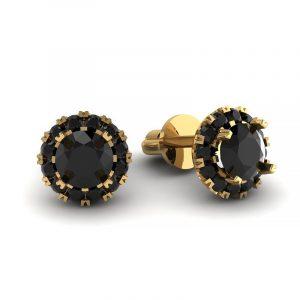 Urok piękna - Kolczyki z żółtego złota z czarnymi diamentami