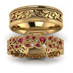 Naturalne piękno - Obrączki ślubne z żółtego złota z rubinami 0,40 ct
