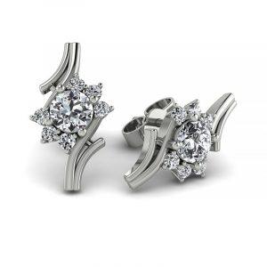 Kwitnące piękno - Kolczyki Diamond Sky z białego złota z brylantami