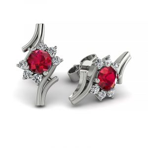 Kwitnące piękno - Kolczyki z białego złota z rubinami i diamentami