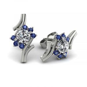 Kwitnące piękno - Kolczyki z białego złota z diamentami i szafirami