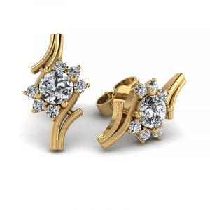 Kwitnące piękno - Kolczyki z żółtego złota z diamentami