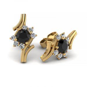 Kwitnące piękno - Kolczyki z żółtego złota z czarnymi brylantami i diamentami