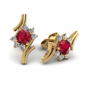 Kwitnące piękno - Kolczyki z żółtego złota z rubinami i diamentami