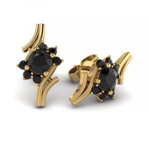 Kwitnące piękno - Kolczyki z żółtego złota z czarnymi diamentami
