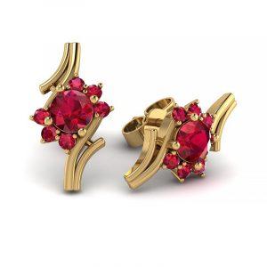 Kwitnące piękno - Kolczyki z żółtego złota z rubinami