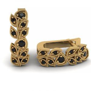 Naturalne piękno - Kolczyki z żółtego złota z czarnymi diamentami
