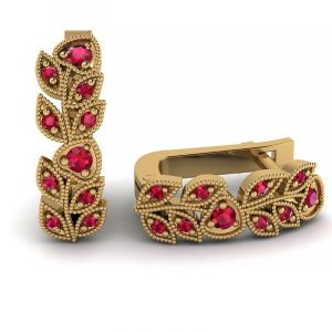 Naturalne piękno - Kolczyki z żółtego złota z rubinami