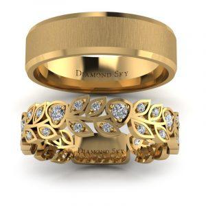 Naturalne piękno - Komplet obrączek z żółtego złota z diamentami 0,31 ct, 5mm, 6mm