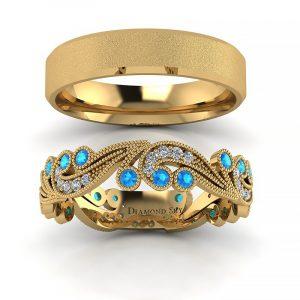 Orientalny szyk - Obrączki ślubne z żółtego złota z diamentami i topazami, 4,5mm, mat