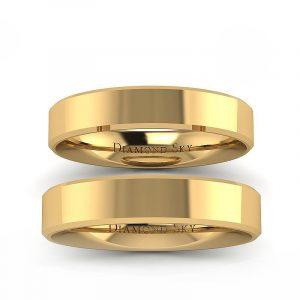 Klasyczny blask - Płaskie obrączki ślubne, żółte złoto, 4mm, 5mm
