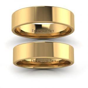 Wytworna klasyka - Płaskie obrączki ślubne z żółtego złota, próba 585, 4,8mm, 5,6mm