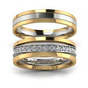 Współczesne piękno - Obrączki ślubne z dwukolorowego złota, białe szafiry 0,51 ct