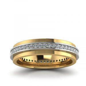 Miłość na zawsze - Obrączka ślubna z białego oraz żółtego złota z brylantami